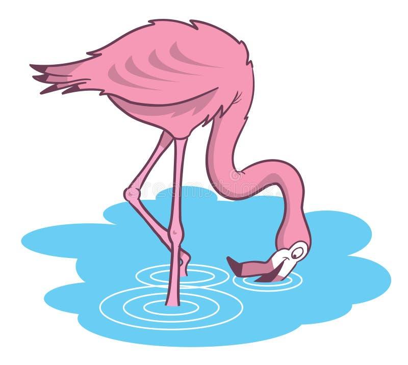 Ilustración rosada de la historieta del flamenco ilustración del vector