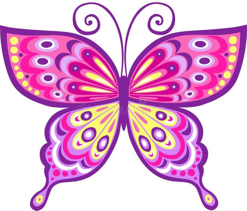 Ilustración rosada del vector de la mariposa ilustración del vector