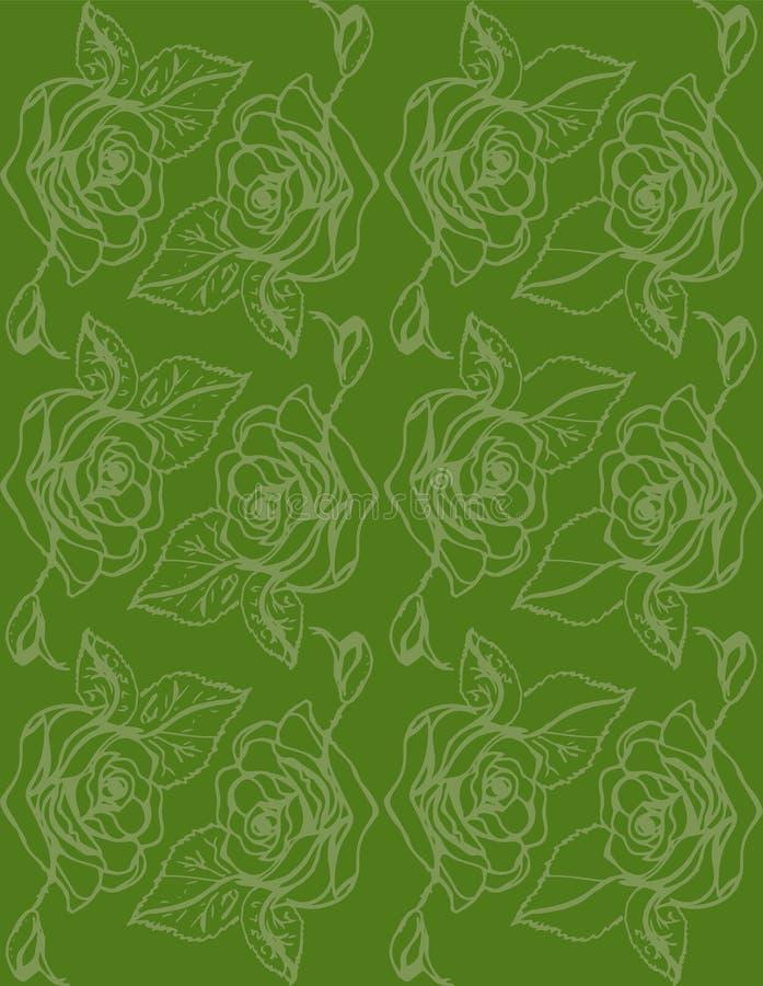 Ilustración Rosas en un fondo verde Modelo inconsútil libre illustration