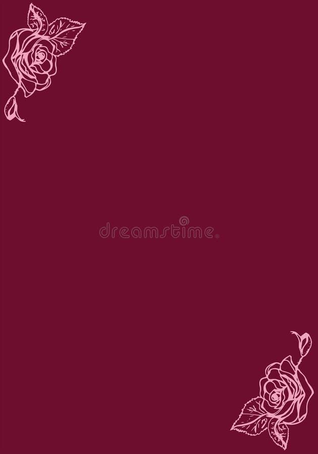 Ilustración Rosas en una tarjeta del fondo de Borgoña ilustración del vector