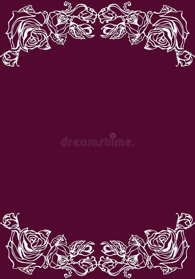 Ilustración Rosas en una tarjeta violeta del fondo stock de ilustración