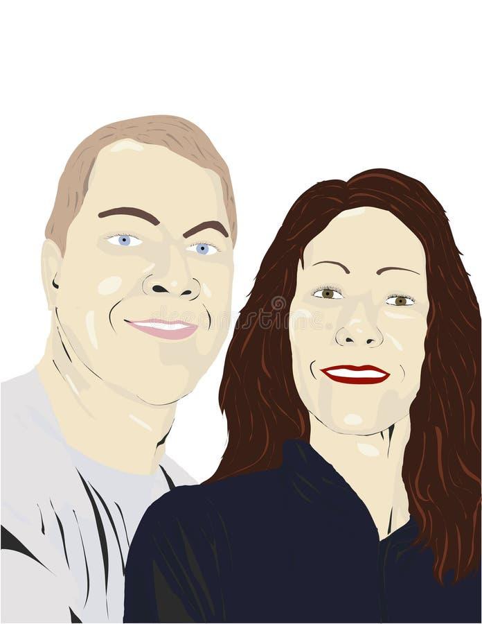 Ilustración sonriente de los pares ilustración del vector