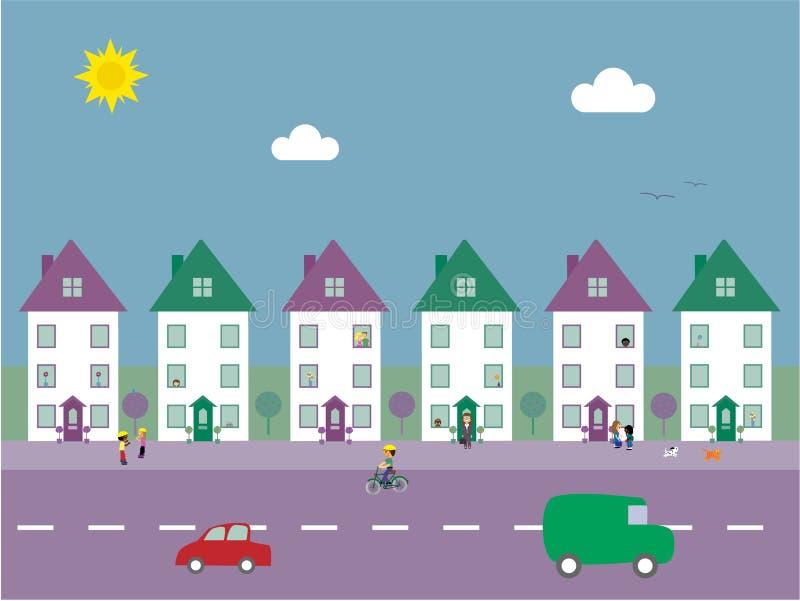 Ilustración suburbana del vector de la calle ilustración del vector