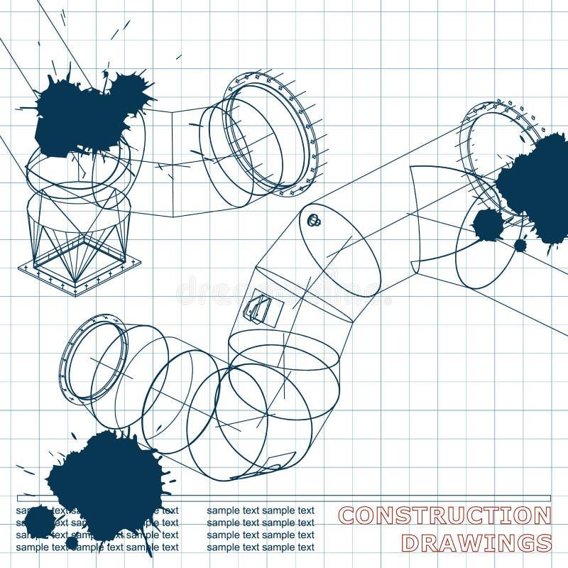 Ilustración técnica bosquejo tinta blots ilustración del vector