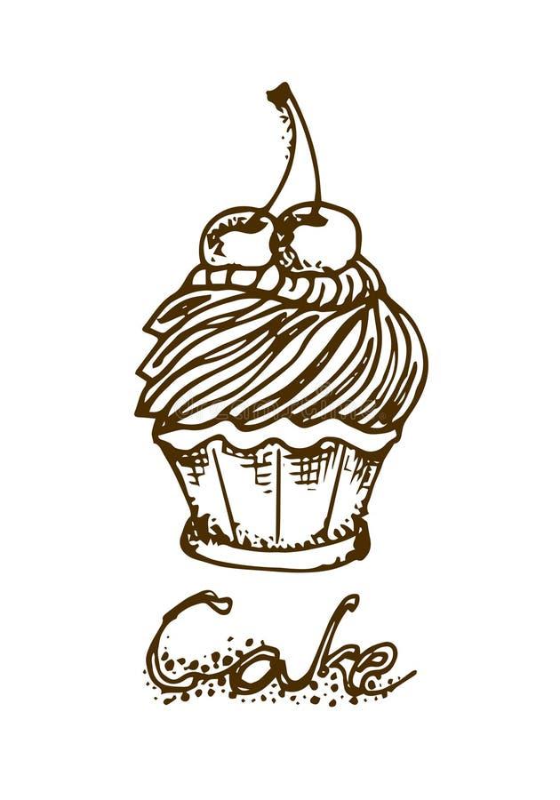 Ilustración Torta con las cerezas Tarjeta de felicitación con un deseo stock de ilustración