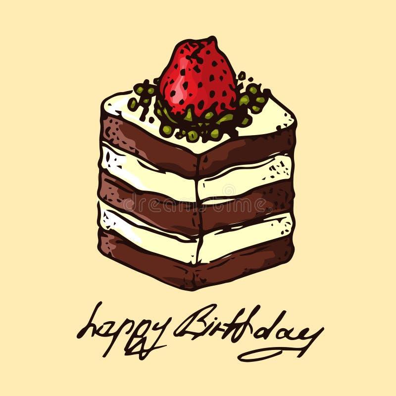 Ilustración torta de chocolate con las fresas Feliz cumpleaños stock de ilustración