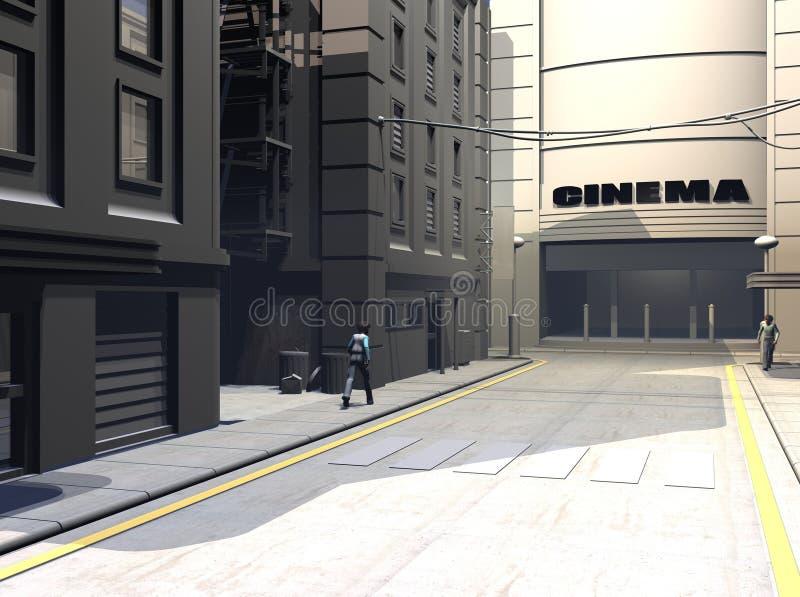 Ilustración urbana de la calle stock de ilustración