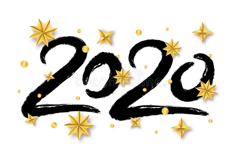 Ilustración vectorial con letras escritas a mano 2020 con estrellas doradas de Navidad aisladas en fondo blanco libre illustration