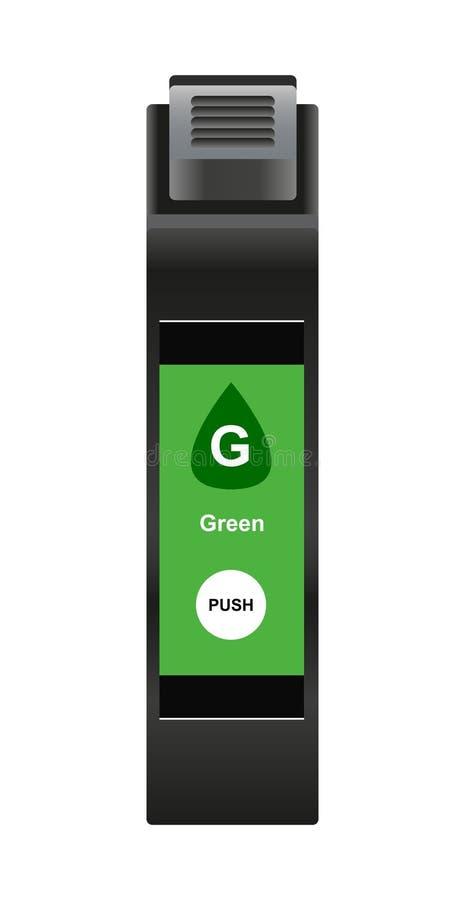 Ilustración vectorial de cartucho de tinta verde especial para tecnología de inyección de tinta stock de ilustración