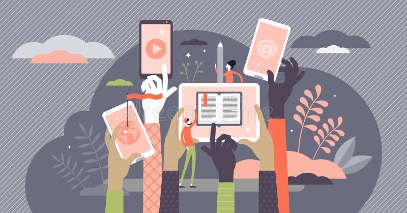 Ilustración vectorial de curso en línea Aprendizaje por Internet en el concepto de persona diminuta stock de ilustración