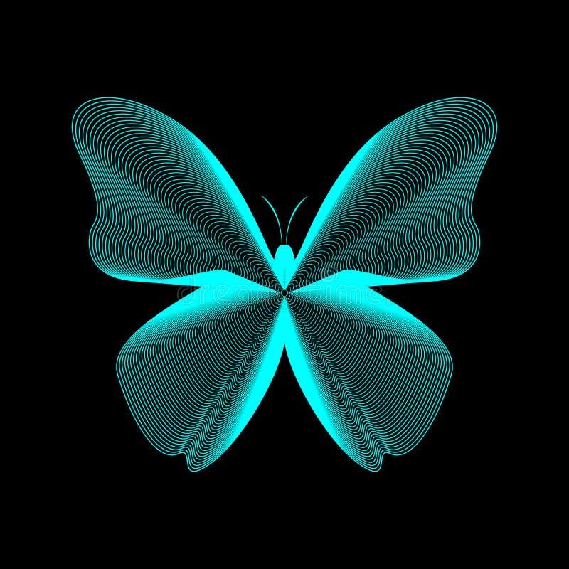 Ilustración vectorial de líneas de mariposa Líneas de neón en negro eps10 libre illustration
