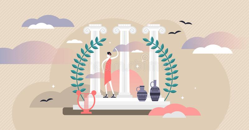 Ilustración vectorial de la cultura romana. Pequeño concepto de personas del turismo histórico stock de ilustración