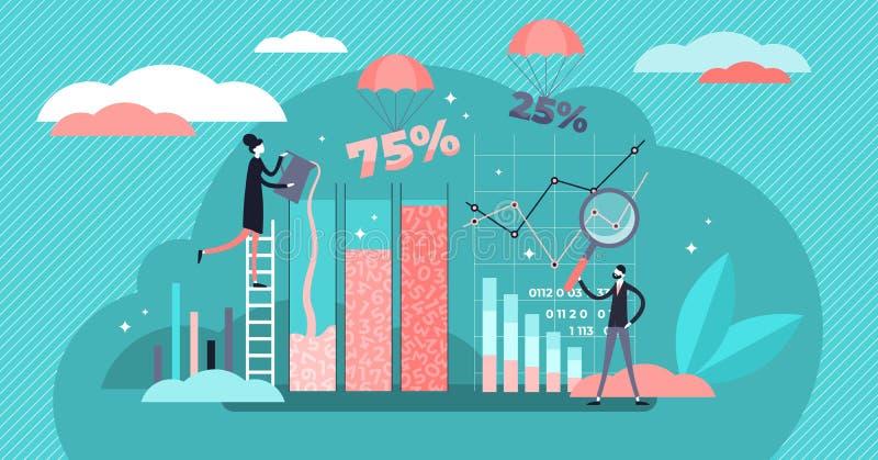 Ilustración vectorial de procesamiento de datos El concepto de personas de trabajo de información pequeña libre illustration