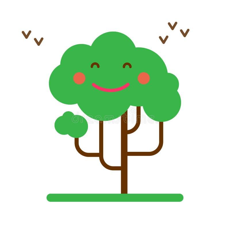 ilustración vectorial del árbol de sonrisa feliz de estilo plano de resorte en fondo blanco stock de ilustración