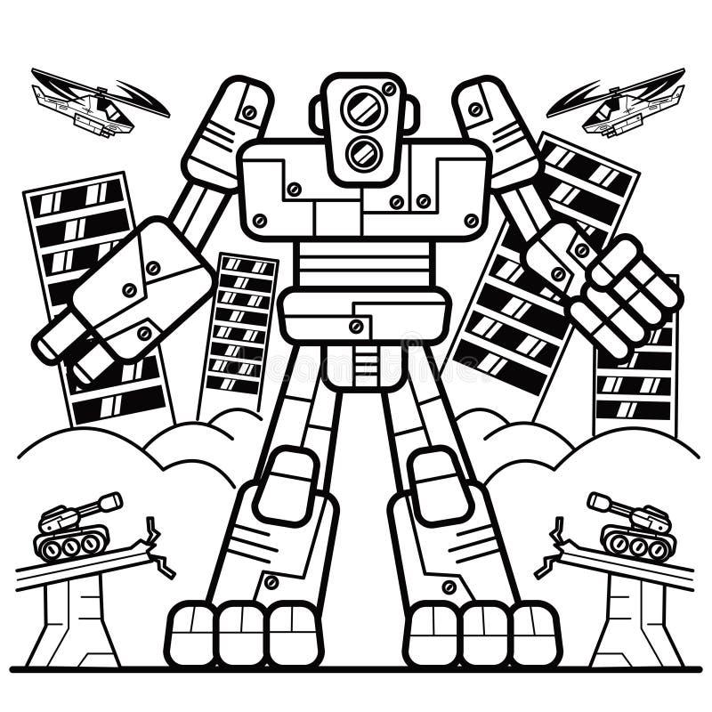 Libro de colorear, robot ilustración del vector ...
