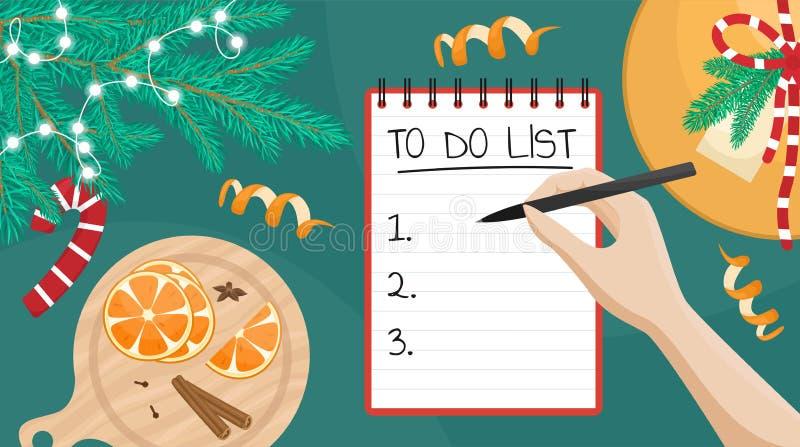 Ilustración vectorial plana de una chica escribiendo una lista de deseos Plana con rama de árbol de Navidad, regalo y naranjas ilustración del vector
