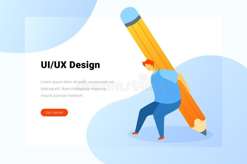 Ilustración vectorial plana del Diseñador Ui UX Holding Pencil Flat Plantilla de diseño de página de destino ilustración del vector