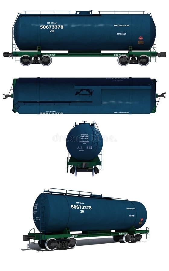 Ilustración: Vistas del carro del tanque azul moderno libre illustration