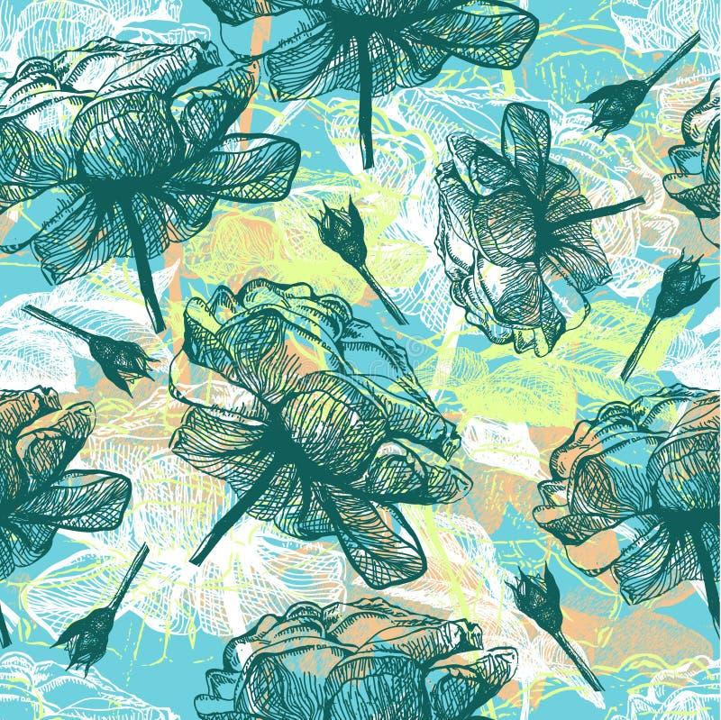 ilustraci deseniowych retro róż bezszwowy wektor ilustracja wektor