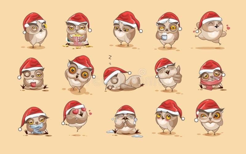Ilustraci Emoji charakteru kreskówki sowy majcherów emoticons z różnymi emocjami ilustracja wektor