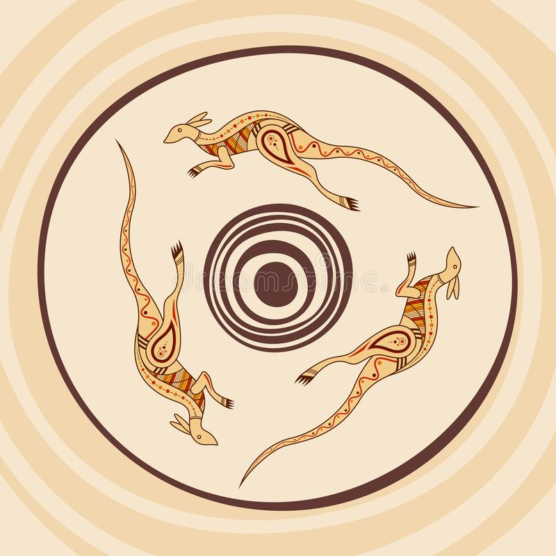 Ilustraci?n abstracta del vector KangaROOS que salta alrededor del sol Estilo aborigen stock de ilustración