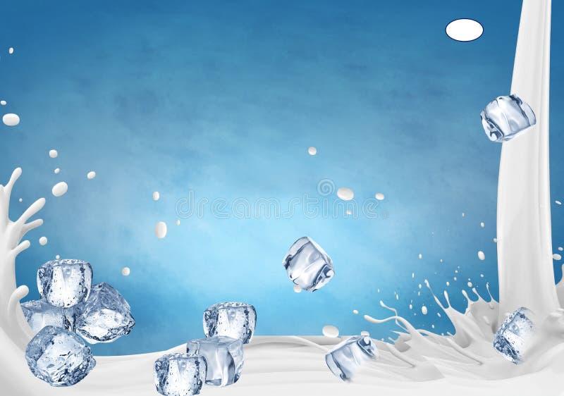 ilustraci?n 3D El ejemplo del chapoteo de la leche, leche realista salpica stock de ilustración