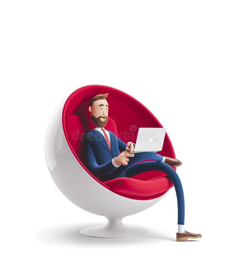 ilustraci?n 3D Hombre de negocios hermoso Billy que se sienta en una silla del huevo con el ordenador portátil libre illustration