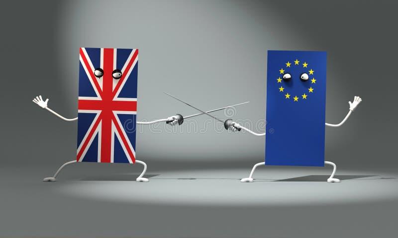 ilustraci?n 3D Lucha de la espada entre las banderas BRITÁNICAS y europeas ilustración del vector