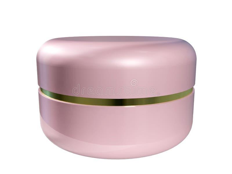 ilustraci?n 3D Tarro plástico rosado cerrado con la crema aislada en el fondo blanco ilustración del vector