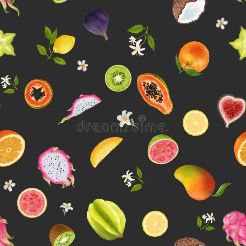 Ilustraci?n de las frutas tropicales Modelo incons?til en fondo oscuro Fruta del dragón, kiwi, papaya, carambola, fruta de estrel ilustración del vector