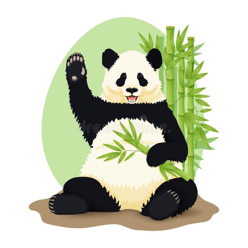 Ilustraci?n del vector de la historieta Panda gigante sonriente linda que se sienta celebrando la rama y agitar de bamb? verdes libre illustration
