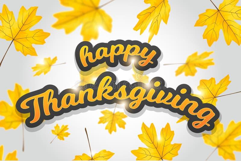 Ilustraci?n del vector Diseño feliz del vector de la tipografía del día de la acción de gracias para las tarjetas de felicitación ilustración del vector