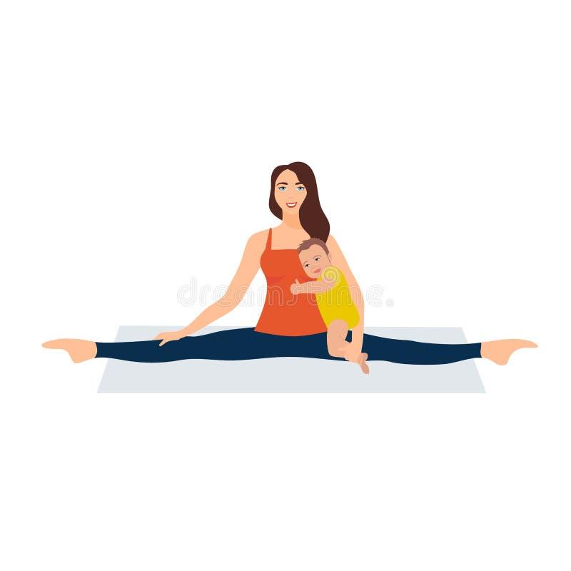 Ilustraci?n del vector en el fondo blanco Asanas con guita en yoga Mujer joven hermosa que hace estirar gimnástico stock de ilustración