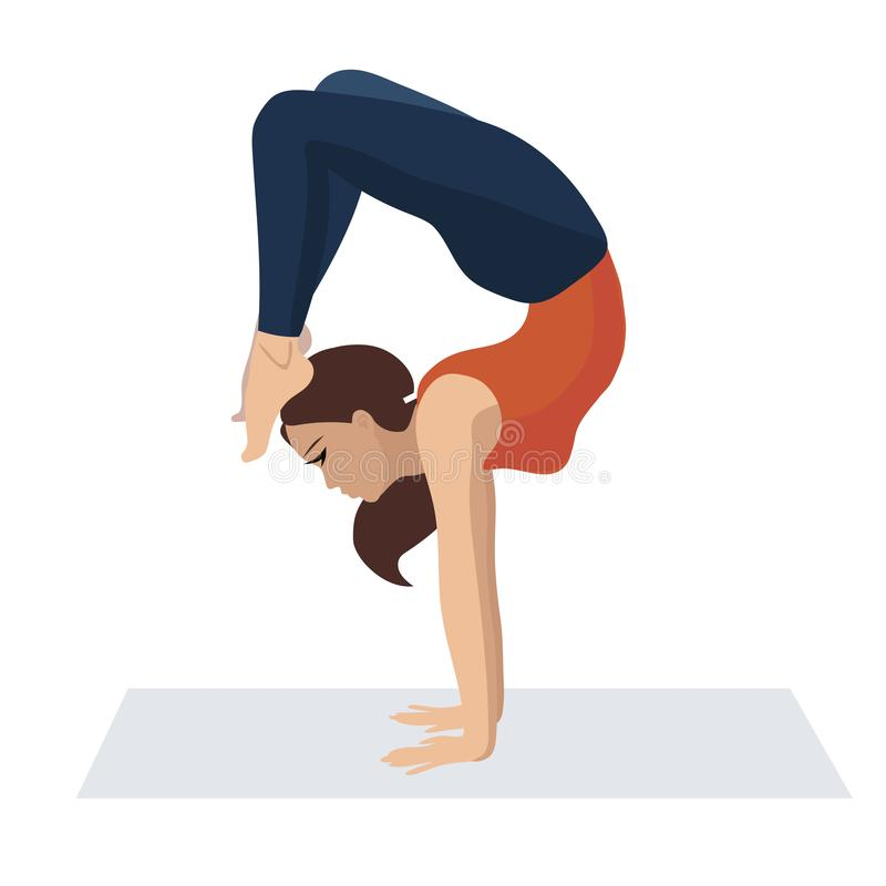 Ilustraci?n del vector en el fondo blanco Asanas de la posición del pino en yoga Mujer joven hermosa que hace ejercicios de la fu imágenes de archivo libres de regalías