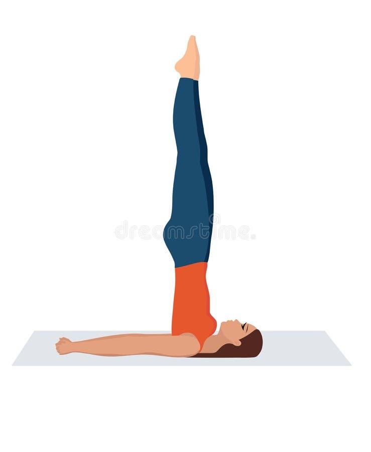 Ilustraci?n del vector en el fondo blanco Soporte del hombro con los brazos detrás Mujer joven hermosa que hace fuerza de la yoga foto de archivo libre de regalías