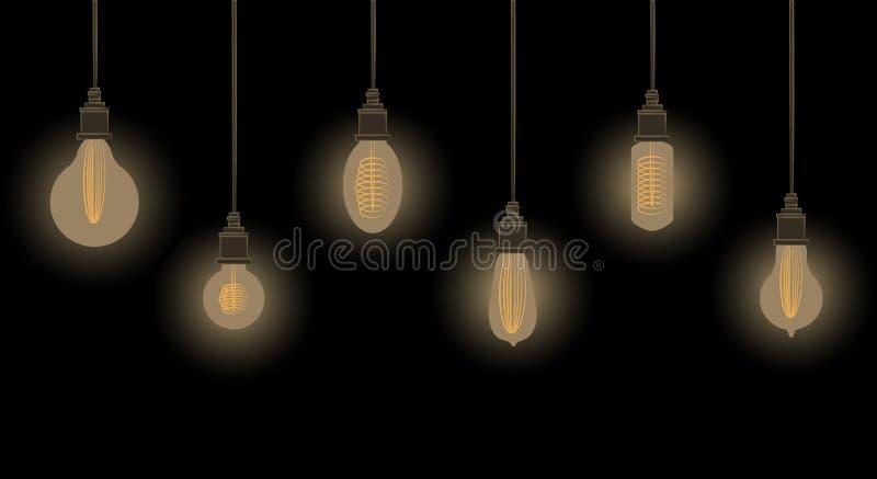 Ilustraci?n del vector Fije de bombillas que brillan intensamente en estilo del vintage en fondo oscuro libre illustration