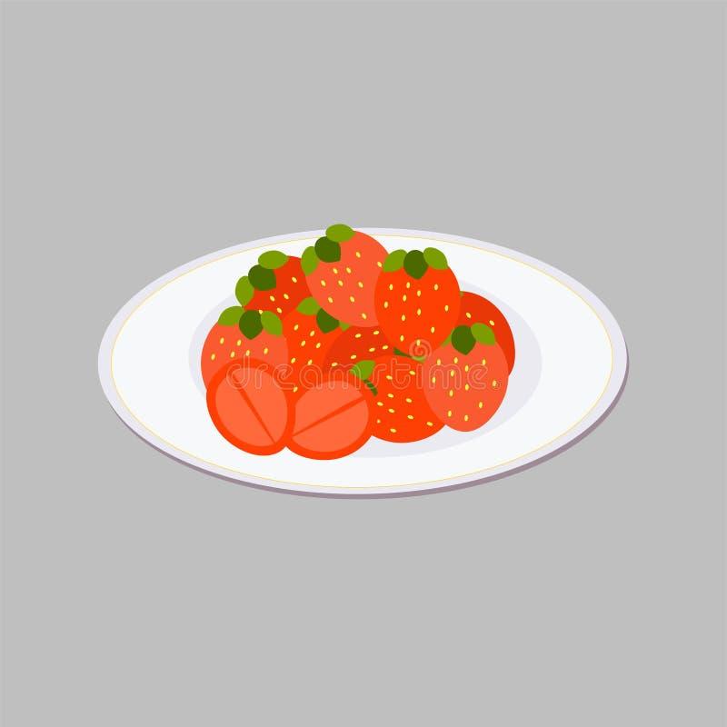 Ilustraci?n del vector Fresa del bosque de Isometry en una placa Bayas frescas maduras grandes del color rojo rico con las hojas  stock de ilustración