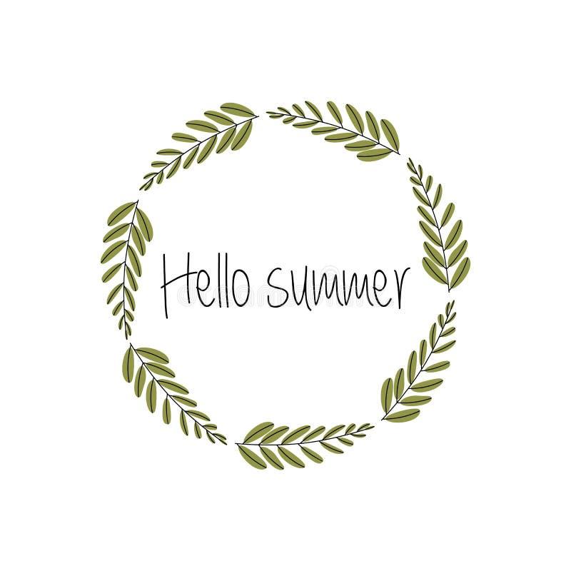 Ilustraci?n del vector Hola verano Laurel Wreath Elementos del dise?o de las hojas Perfeccione para casarse las invitaciones, tar stock de ilustración