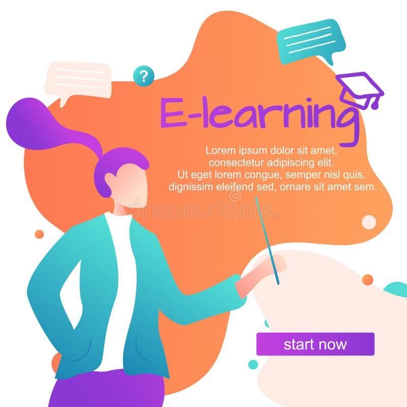 Ilustraci?n del vector Idiomas extranjeros de aprendizaje en línea, muchacha para los artilugios aprender las idiomas, estudio en stock de ilustración
