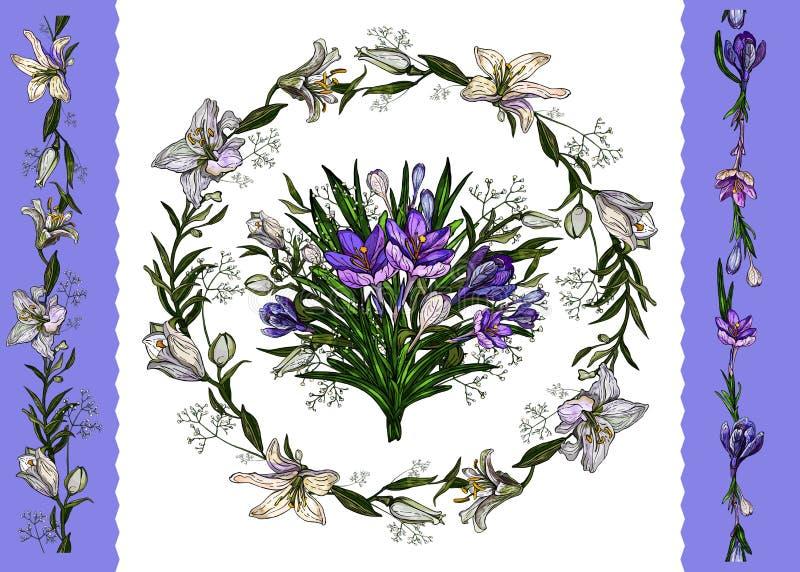Ilustraci?n del vector Plantilla floral del manojo floral de pascua, guirnalda de lirios y azafranes y fronteras aisladas en blan stock de ilustración