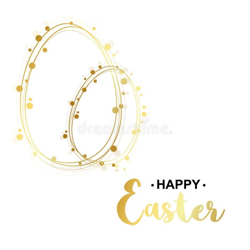 Ilustraci?n del vector Tarjeta de pascua feliz del oro Plantilla de oro del huevo stock de ilustración