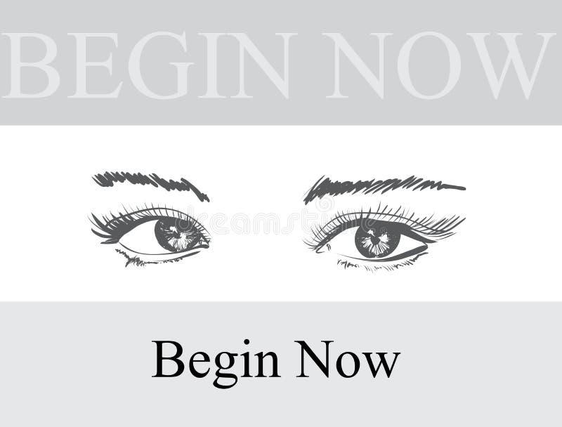 Ilustraci?n drenada mano del vector Maquillaje hermoso del ojo de la mujer Bosquejo de la manera libre illustration
