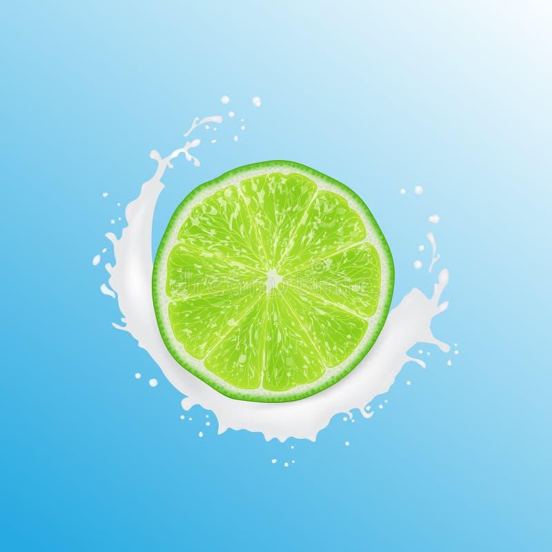 Ilustraci?n realista 3d Cal rebanada Chapoteo del jugo de la leche Fondo colorido de la fruta c?trica libre illustration