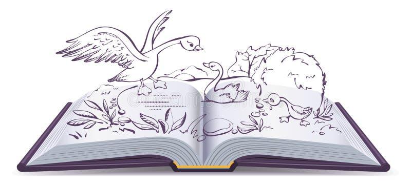 Ilustraci otwarta książkowa bajka brzydki kaczątko ilustracji