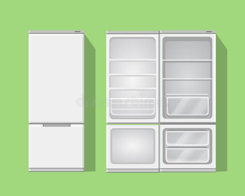 Ilustraci rozpieczętowana i zamknięta popielata pusta chłodziarka Wektorowa fridge ikona royalty ilustracja