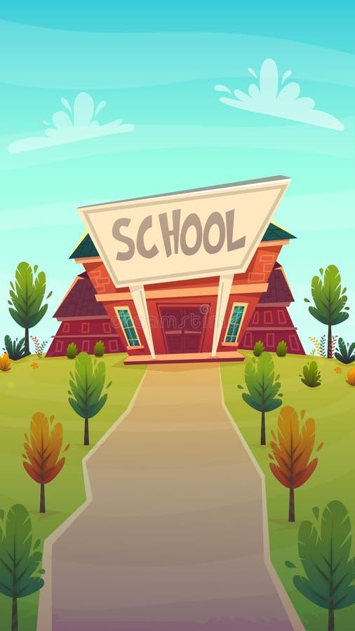 ilustraci tylna szkoła budynek edukacji fasade ulicznej kreskówki śmieszny szczęśliwy styl również zwrócić corel ilustracji wekto ilustracja wektor