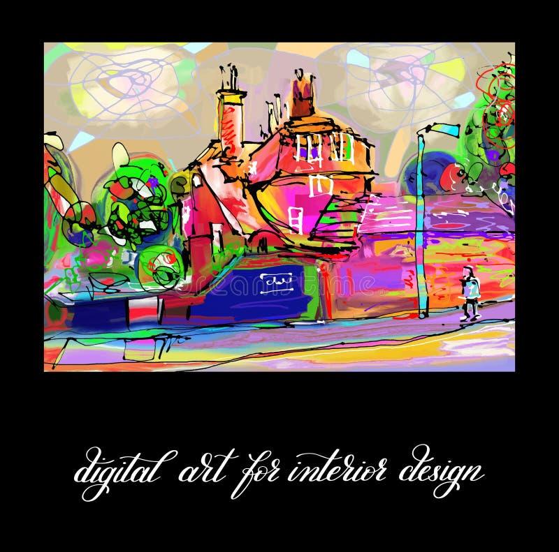 Ilustraciones abstractas digitales contemporáneas originales de la pintura a imprimir stock de ilustración