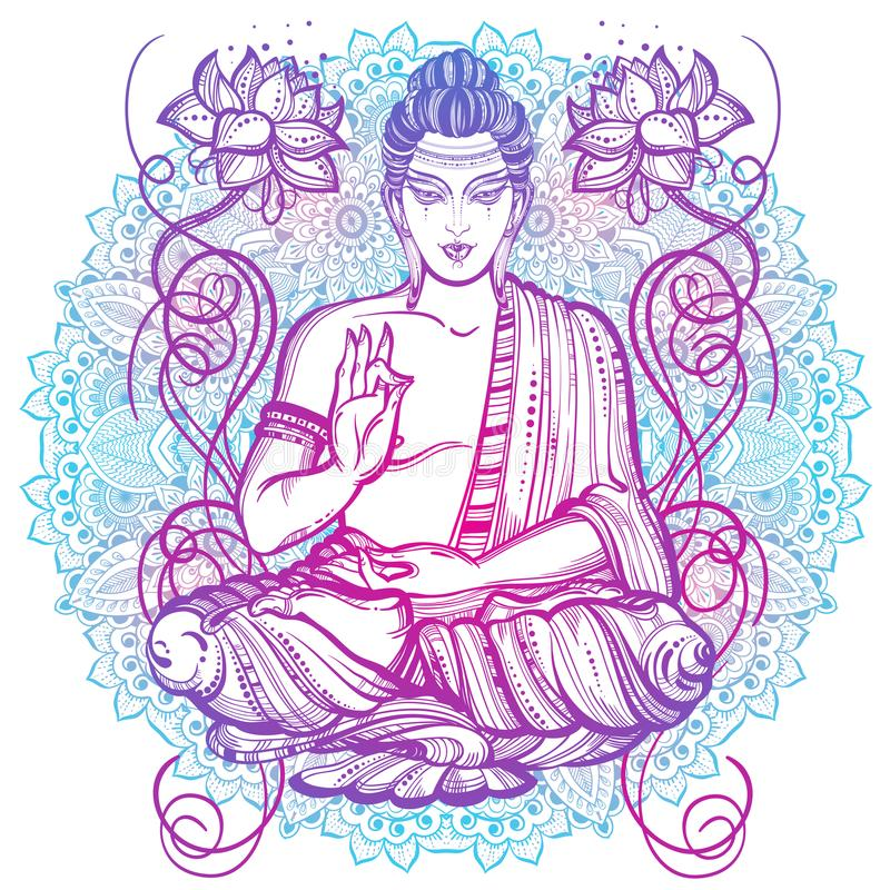 ilustraciones Alto-detalladas de sentar a Buda sobre el modelo redondo de la mandala Ilustraciones hermosas dibujadas mano del ve stock de ilustración