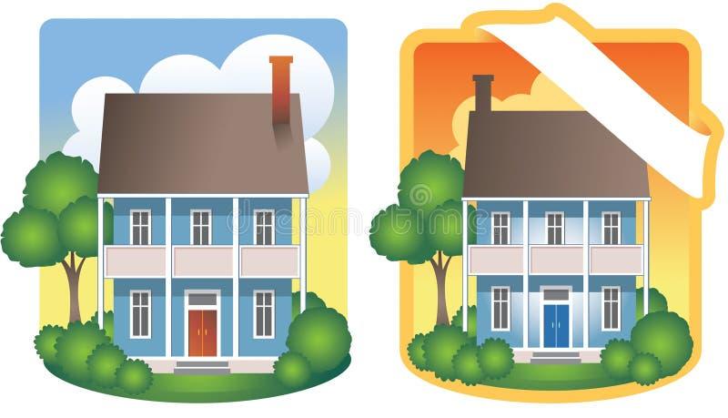 Ilustraciones de la casa de dos pisos stock de ilustración