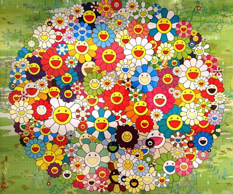 Ilustraciones de la firma de Takashi Murakami fotografía de archivo libre de regalías